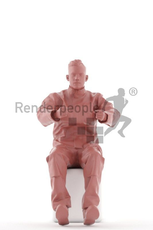 3d people worker, white 3d man sitting and driving