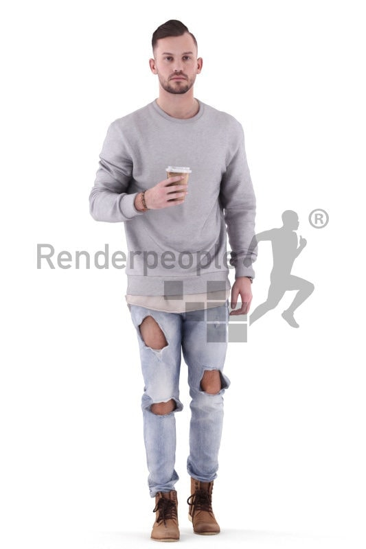 3d people casual, white 3d man walking and holding a cup