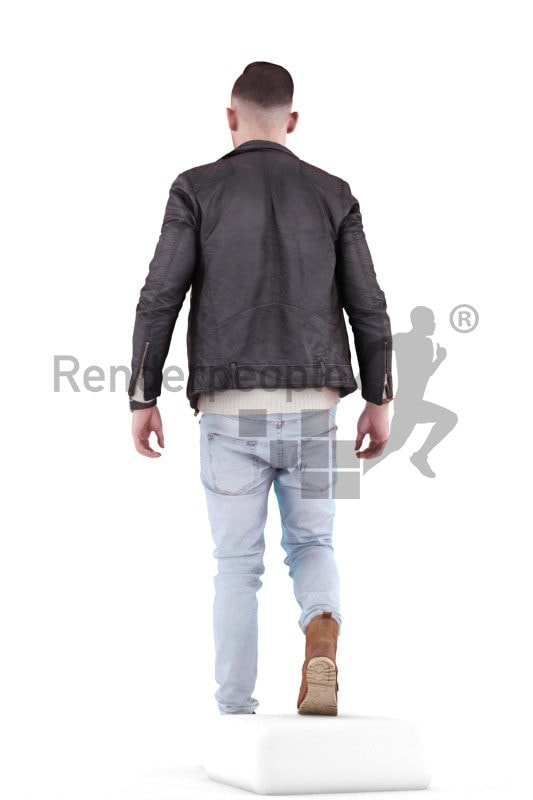 3d people casual, white 3d man walking and climbing stairs