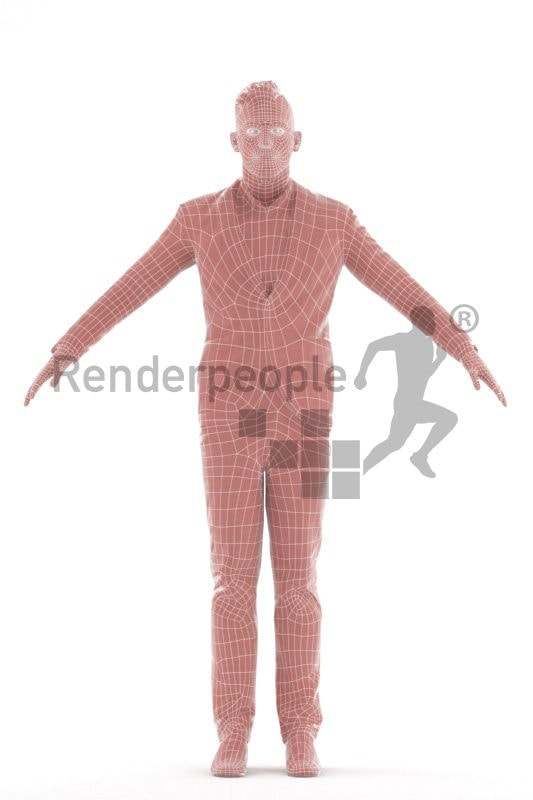 Rigged and retopologized 3D People model, white man smart casual