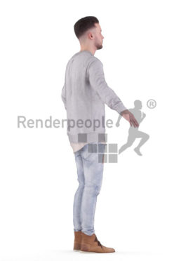 Rigged 3D People model for Maya and Cinema 4D – white man in casual streetwear
