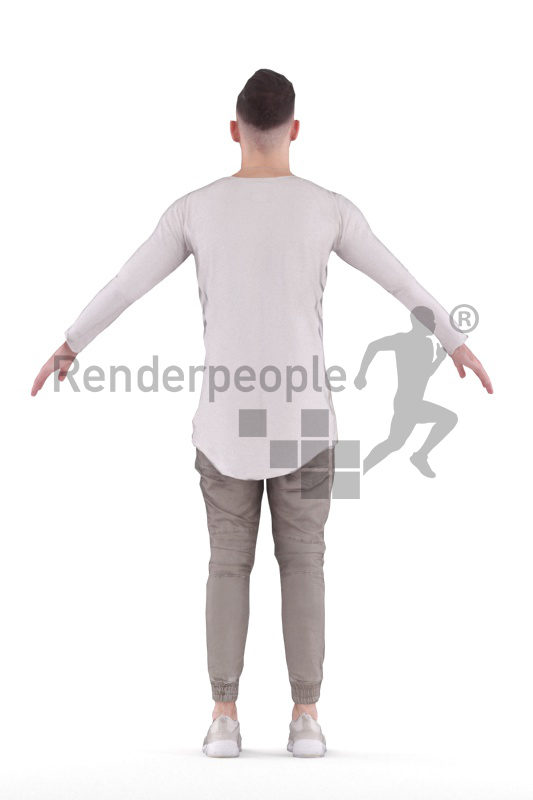 Rigged human 3D model by Renderpeople – young man with casual clothes