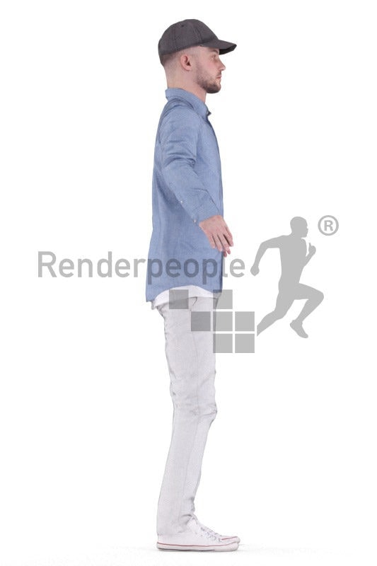 Rigged human 3D model by Renderpeople – white man in casual look