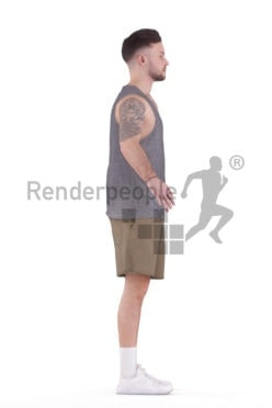 Rigged 3D People model for Maya and Cinema 4D – white man in sports wear