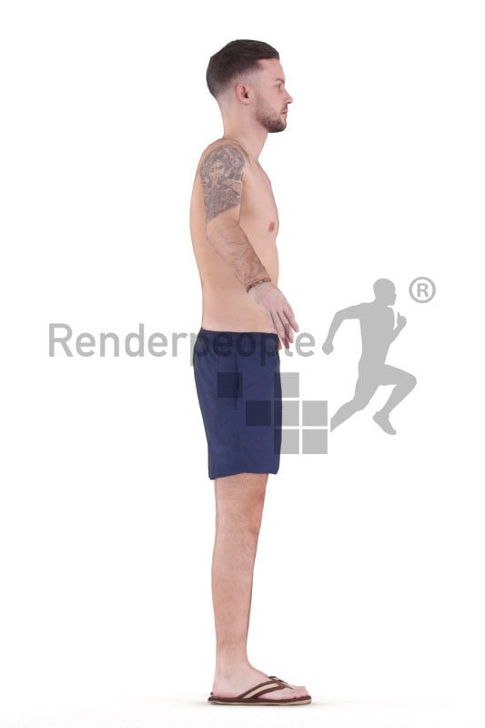 Rigged human 3D model by Renderpeople – white man in swimm shorts