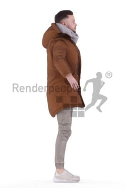 Rigged 3D People model for Maya and 3ds Max – white man in outdoor look
