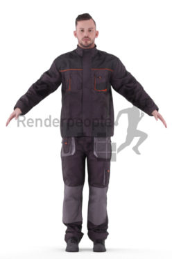 Rigged human 3D model by Renderpeople – white man in work wear