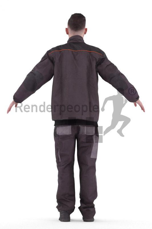 Rigged human 3D model by Renderpeople – white man in work wear
