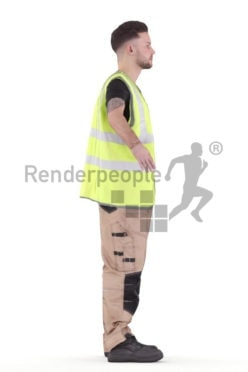 Rigged and retopologized 3D People model – european man in work wear