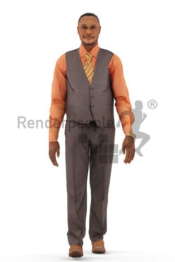 Animated 3D People model for realtime, VR and AR – elderly black man in event/business look, walking