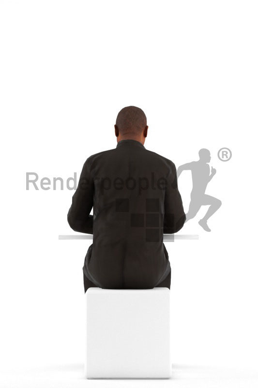 3D People model for animations – black man in smart casual look, sitting