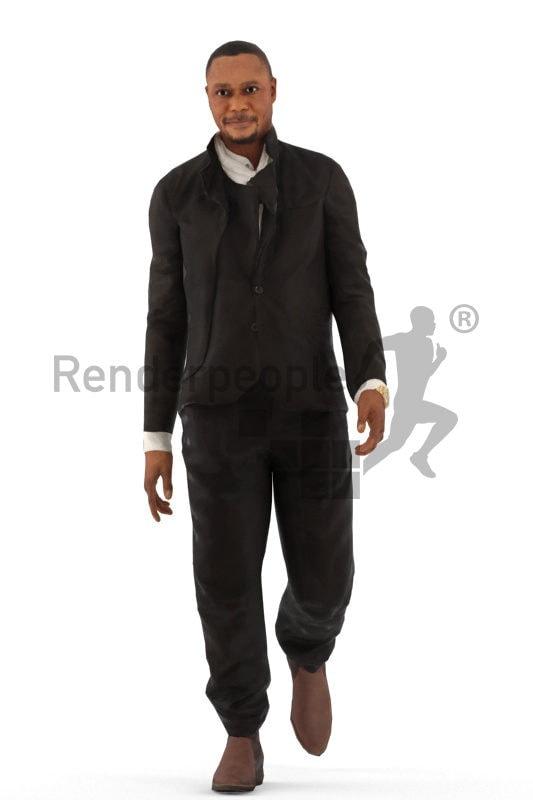 3d people office, black animated 3d man walking