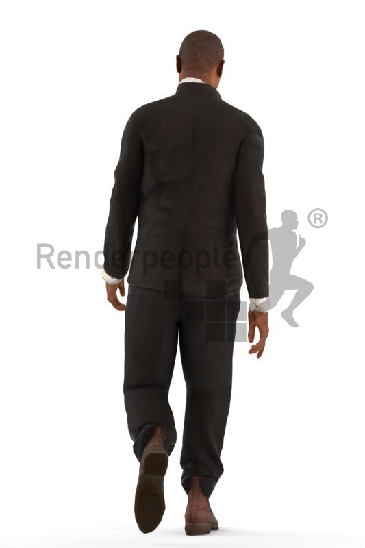 3d people office, black animated 3d man walking