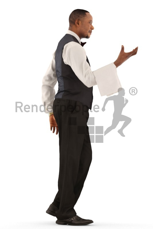 3d people catering, black 3d man, waiter walking