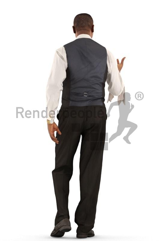 3d people catering, black 3d man, waiter walking