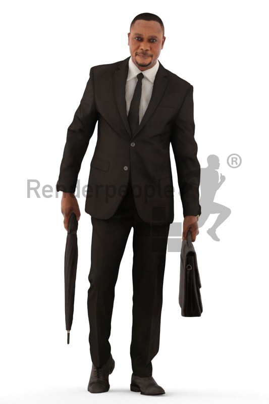 3d people business, black 3d man walking with briefcase and umbrella
