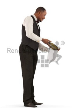 3d people catering, black 3d man, waiter standing offering champagne