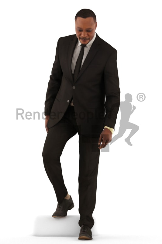 3d people business, black 3d man walking downstairs