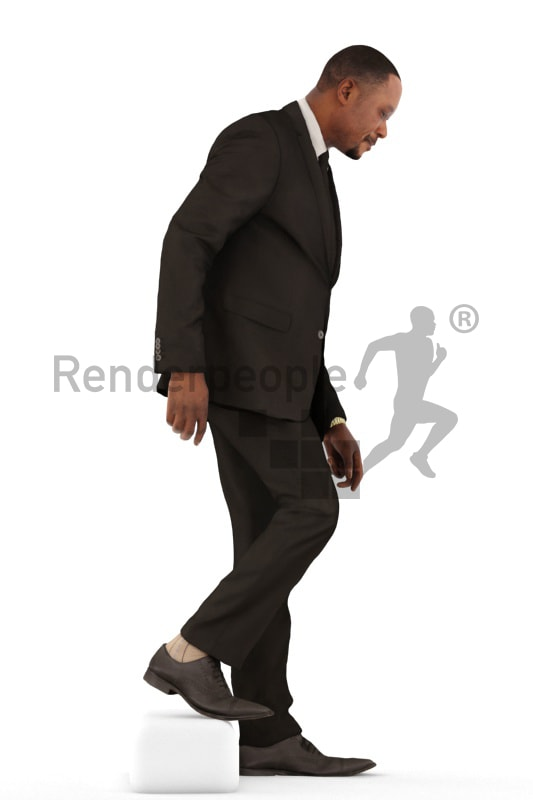 3d people business, black 3d man walking downstairs