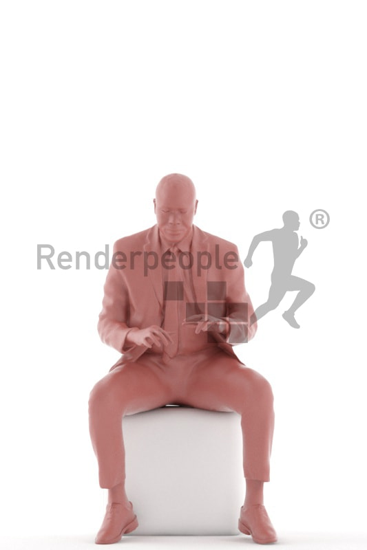 3d people business, black 3d man sitting and typing