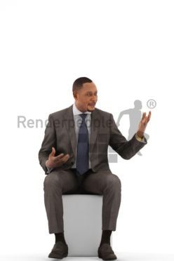 3d people business, black 3d man sitting and discussing