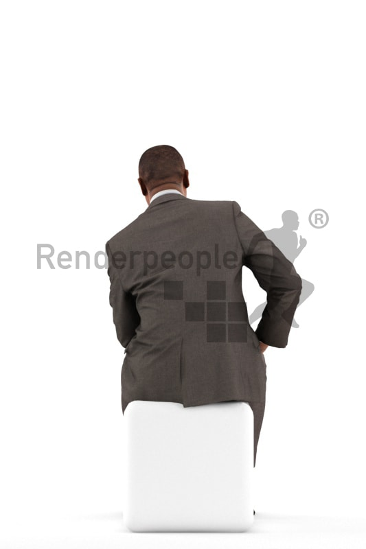 3d people business, black 3d man sitting