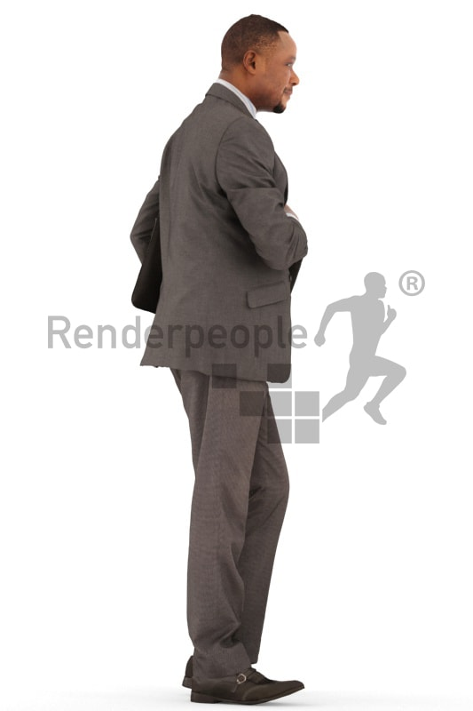 3d people business, black 3d man standing with a briefcas under his arm