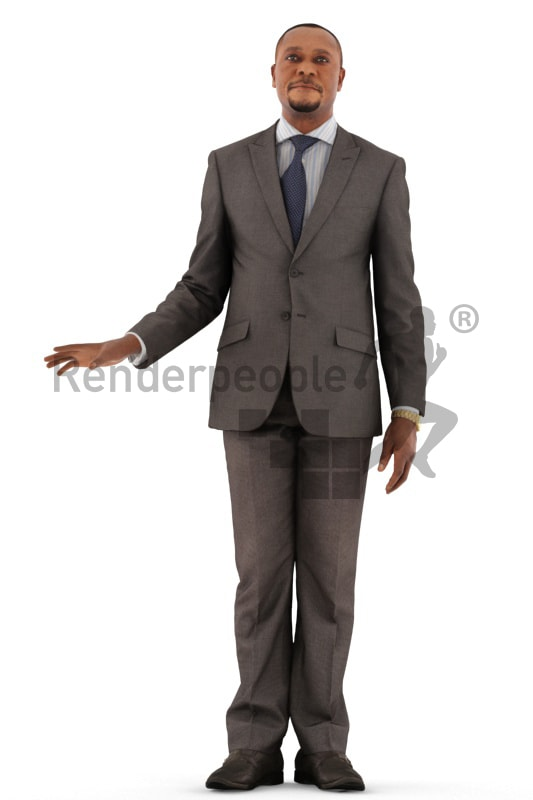 3d people business, black 3d man standing grabbing a handrail