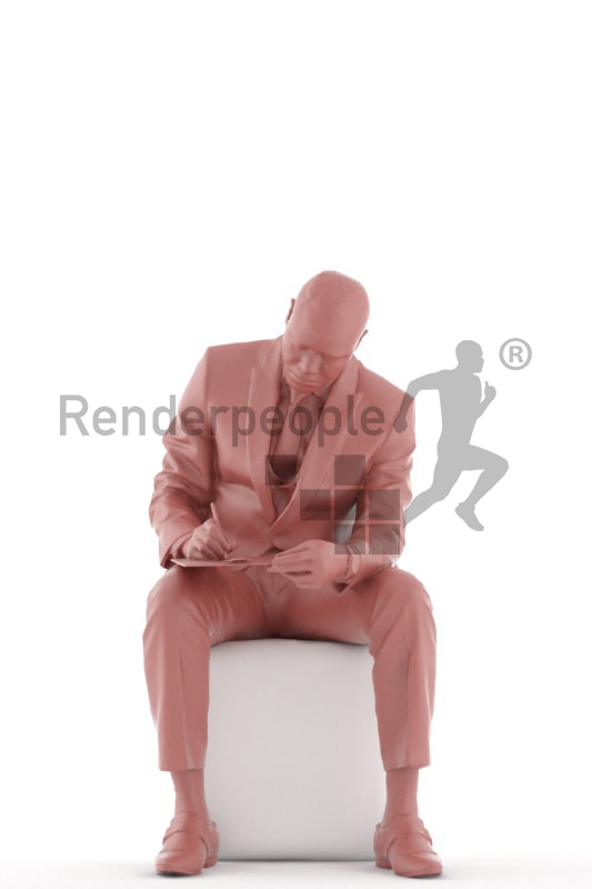 3d people business, black 3d man sitting writing on his clipboard