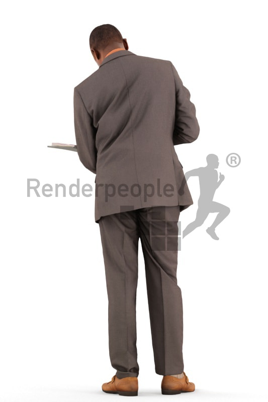 3d people business, black 3d man standing reading in a folder