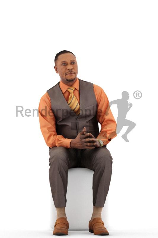 3d people business, black 3d man sitting