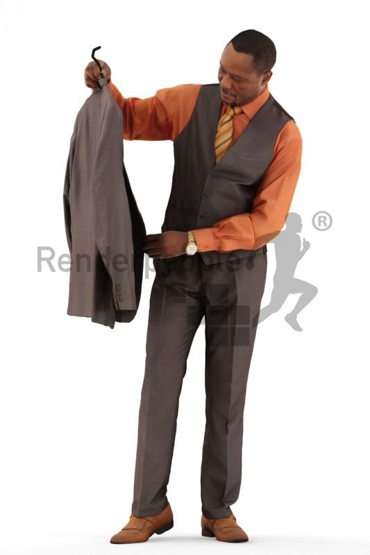 3d people business, black 3d man shopping and holding jacket