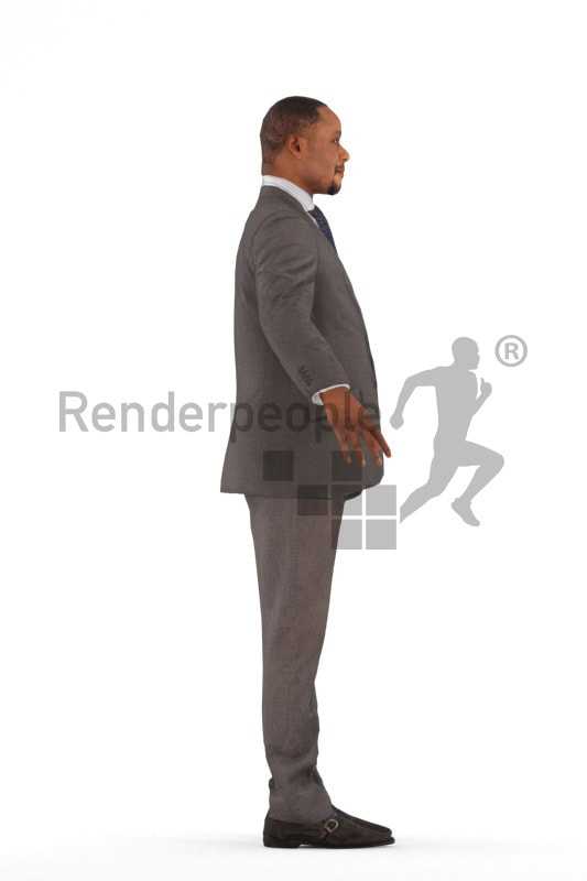 3d people business, rigged black man in A Pose