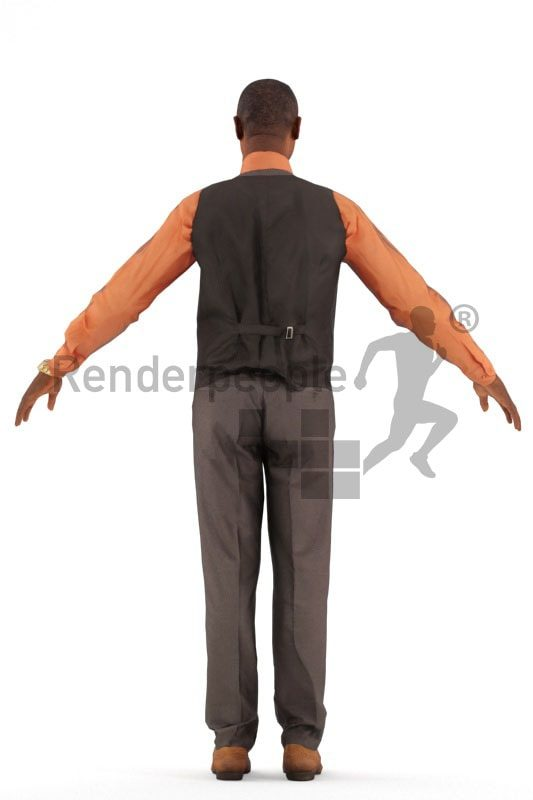 3d people business, black rigged man in A Pose