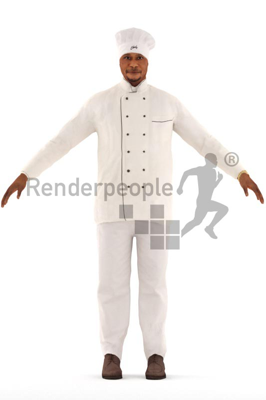 3d people cook, rigged black man in A Pose