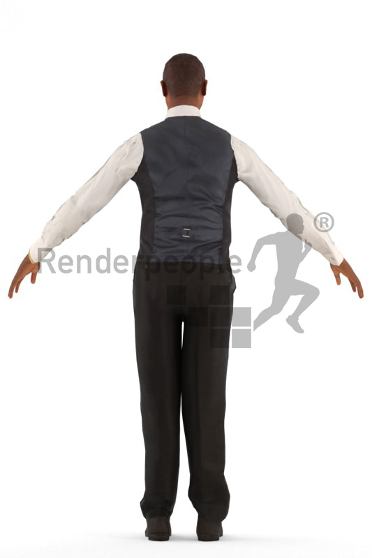 3d people catering, rigged black man in A Pose