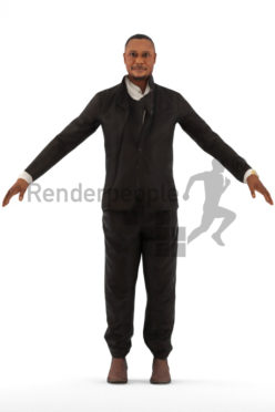 3d people event, rigged black man in A Pose