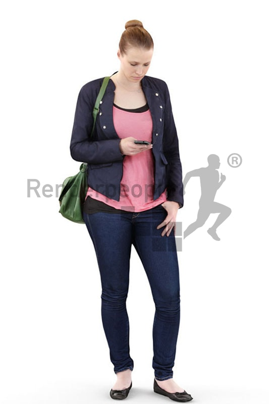 3d people shopping, white 3d woman carrying a bag and typing on her phone