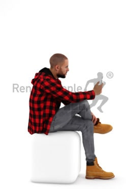 3d people casual, middle eastern 3d man sitting and typing on his phone