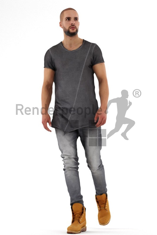 3d people casual, middle eastern 3d man walking