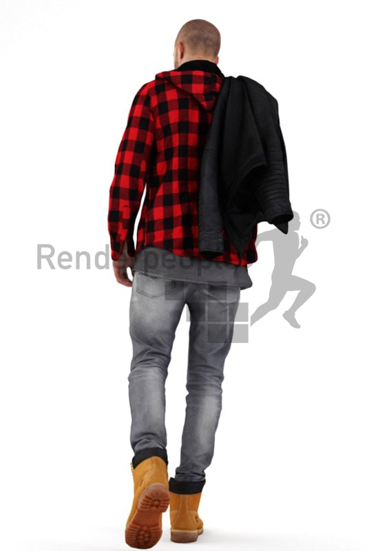 3d people casual, middle eastern 3d man walking carrying his jacket over his shoulder