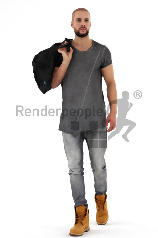 3d people casual, middle eastern 3d man walking carrying a back over his shoulder
