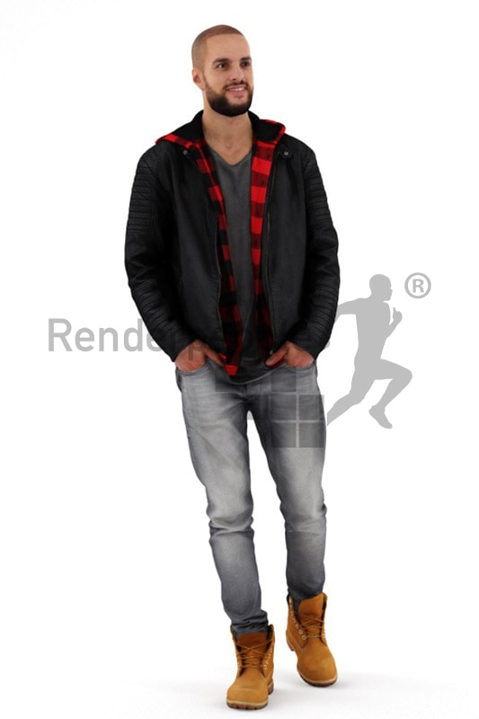 3d people casual, middle eastern 3d man walking and smiling