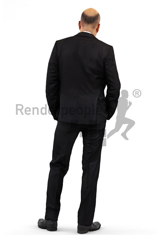 3d people business, middle eastern 3d man wearing a suit and having his hands in his pockets