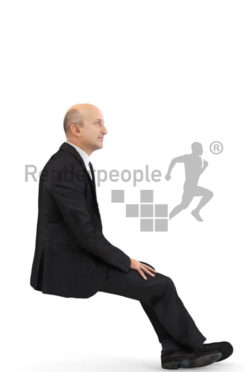3d people business, middle eastern 3d man wearing a suit and sitting