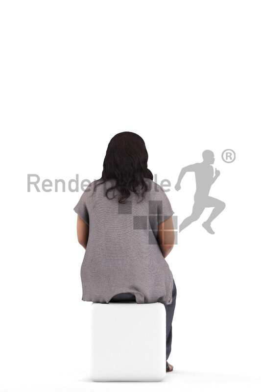 3d people casual, black 3d woman sitting