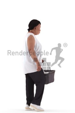 3d people casual, black 3d woman walking and shopping
