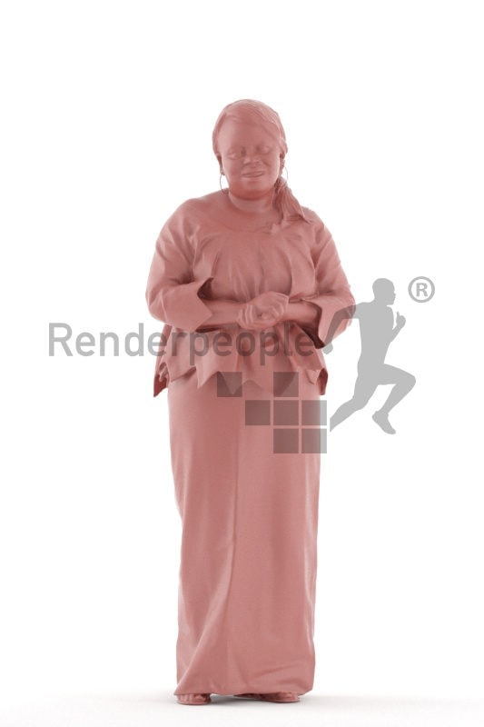 3d people event, black 3d woman standing