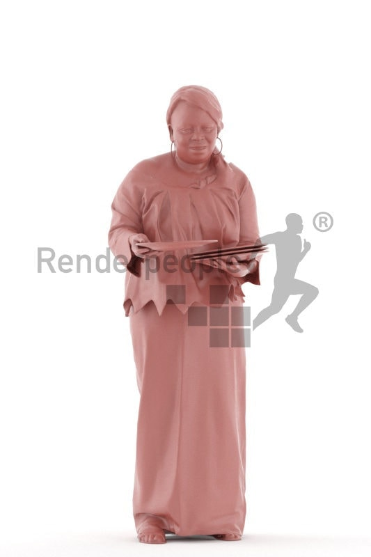 3d people event, black 3d woman serving plates