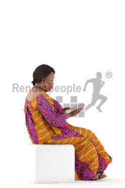 3d people event, black 3d woman sitting and reading